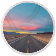 Fiery Road Though The Valley Of Death Round Beach Towel