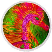 Fiery Sea Horse Round Beach Towel by Adria Trail
