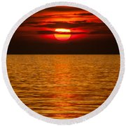 Fiery Sunset Round Beach Towel by Davorin Mance