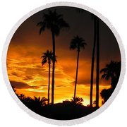 Round Beach Towel featuring the photograph Fiery Sunset by Deb Halloran