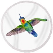 Fiery-throated Hummingbird Round Beach Towel by Amy Kirkpatrick