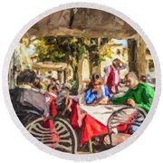Fiesole Al Fresco Round Beach Towel by Liz Leyden