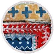 Fiesta 3- Colorful Pattern Painting Round Beach Towel by Linda Woods