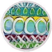 Fiesta - Colorful Painting Round Beach Towel