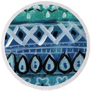 Fiesta In Blue- Colorful Pattern Painting Round Beach Towel