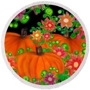 Fiesta Pumpkins Round Beach Towel
