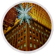 Round Beach Towel featuring the photograph Fifth Avenue Holiday Star by Chris Lord
