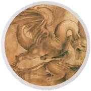 Fight Between A Dragon And A Lion Round Beach Towel