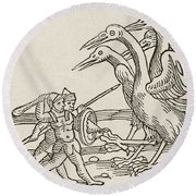 Fight Between Pygmies And Cranes. A Story From Greek Mythology Round Beach Towel