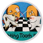 Round Beach Towel featuring the painting Fighting Tooth Decay by Anthony Falbo