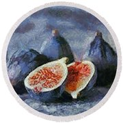 Round Beach Towel featuring the painting Figs by Dragica  Micki Fortuna