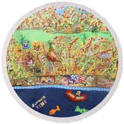 Summer Time Round Beach Towel