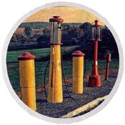 Fill 'er Up Vintage Fuel Gas Pumps Round Beach Towel