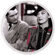 Film Homage Cary Grant Rosalind Russell Howard Hawks His Girl Friday 1940-2008 Round Beach Towel