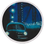 Film Noir In Blue #1 Round Beach Towel