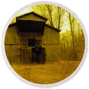 Round Beach Towel featuring the photograph Filtered Barn by Nick Kirby