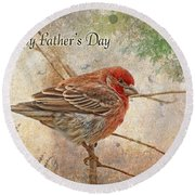 Finch Greeting Card Father's Day Round Beach Towel