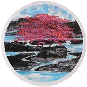 Finding Beauty In Solitude Round Beach Towel