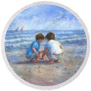 Finding Sea Shells Brother And Sister Round Beach Towel