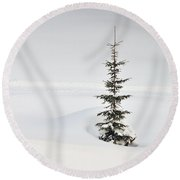 Fir Tree And Lots Of Snow In Winter Kleinwalsertal Austria Round Beach Towel