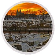 Fire And Ice Round Beach Towel by Elizabeth Winter