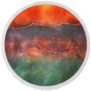 Fire And Ice Misty Morning Round Beach Towel