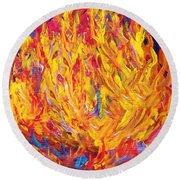 Round Beach Towel featuring the painting Fire And Passion - Here's To New Beginnings by Eloise Schneider