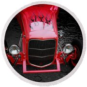 Classic Cars Round Beach Towel featuring the photograph Fire And Water by Aaron Berg