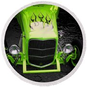 Classic Cars Round Beach Towel featuring the photograph Fire And Water Green Version by Aaron Berg