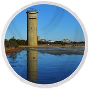 Fire Control Tower 3 Icy Reflection Round Beach Towel