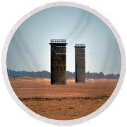 Fct5 And Fct6 Fire Control Towers On The Beach Round Beach Towel