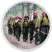 Round Beach Towel featuring the photograph Fire Crew Walks To Their Assignment On Myrtle Fire by Bill Gabbert