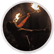 Fire Dancer Round Beach Towel