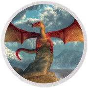 Fire Dragon Round Beach Towel by Daniel Eskridge
