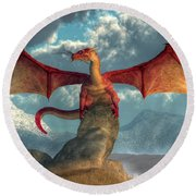 Fire Dragon Round Beach Towel