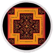 Fire Dragon Celtic Cross Round Beach Towel