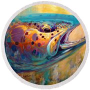 Fire From Water - Rainbow Trout Contemporary Art Round Beach Towel by Savlen Art