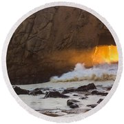 Fire In The Hole Round Beach Towel
