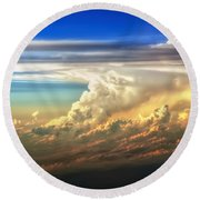Fire In The Sky From 35000 Feet Round Beach Towel