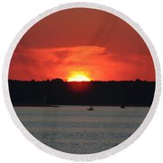 Round Beach Towel featuring the photograph Fire In The Sky by Karen Silvestri