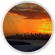 Round Beach Towel featuring the photograph Fire In The Sky by Miroslava Jurcik