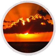 Fire In The Sky Round Beach Towel by Patti Whitten