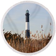 Round Beach Towel featuring the photograph Fire Island Tower by Karen Silvestri
