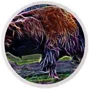 Fire Of A Bison  Round Beach Towel