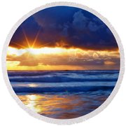 Fire On The Horizon Round Beach Towel