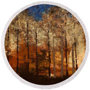 Fire On The Mountain Round Beach Towel