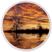 Fire Painters In The Sky Round Beach Towel
