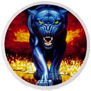 Fire Panther Round Beach Towel by MGL Studio - Chris Hiett