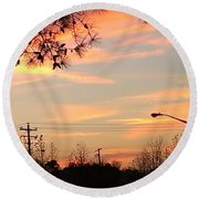 Fire Sky Round Beach Towel