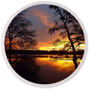 Round Beach Towel featuring the photograph Sunrise Fire by Dianne Cowen